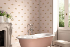 11 Pink printed wallpaper for a refined girlih bathroom