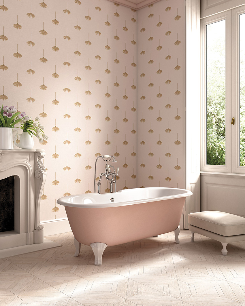Pink printed wallpaper for a refined girlih bathroom