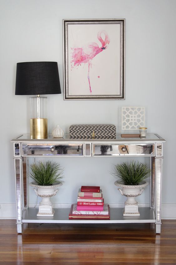 a watercolor flamingo wall art is a great idea for any feminine space
