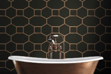12 Matte grey and copper geometry print bathroom wallpaper for an art deco space
