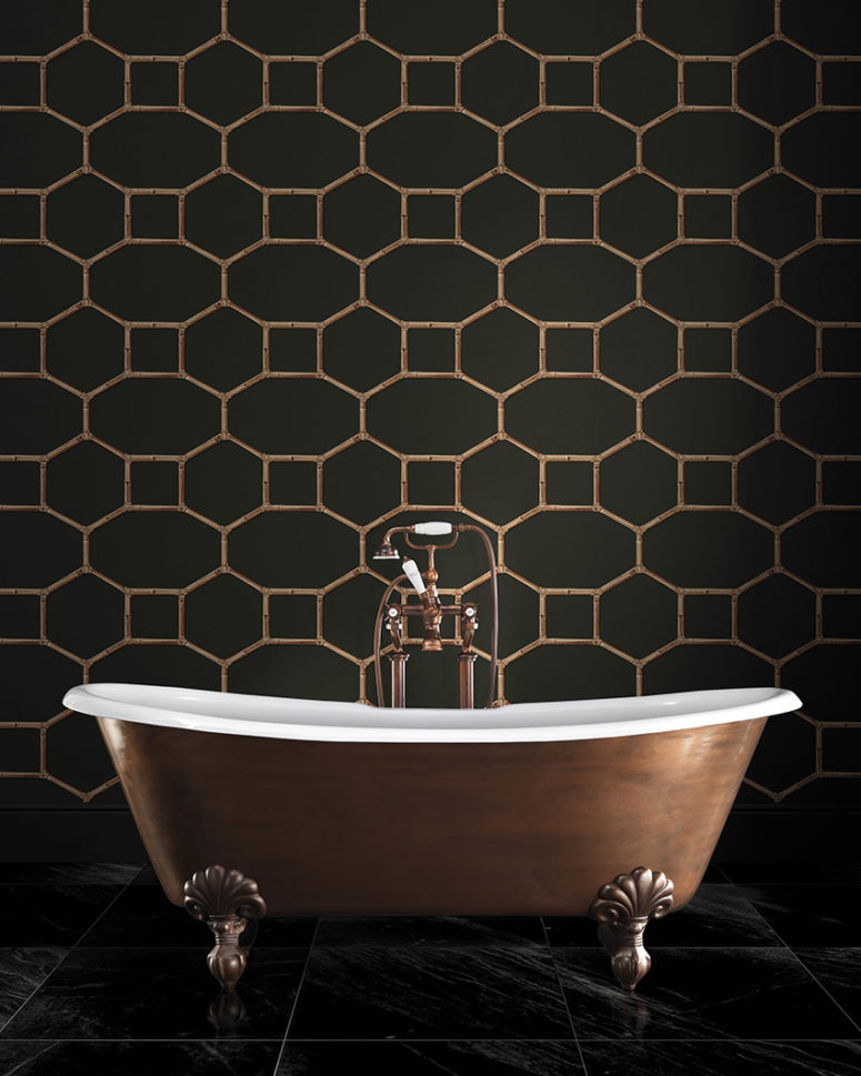 Matte grey and copper geometry print bathroom wallpaper for an art deco space