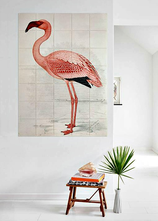 a coral flamingo wall art to add a tropical feel to your home