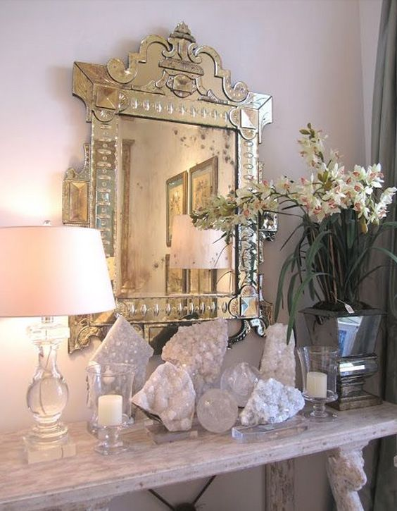 a crystals display will be a nice addition for a dressing space, a girl's closet or bedroom