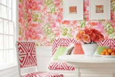 12 bold pink and green floral wallpaper to make the dining space more romantic