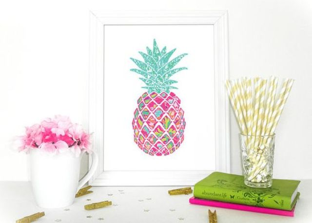 such a colorful pineapple art piece can be easily DIYed to add cheer