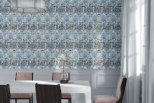13 Beautiful blue and copper print wallpaper for an adorable dining room