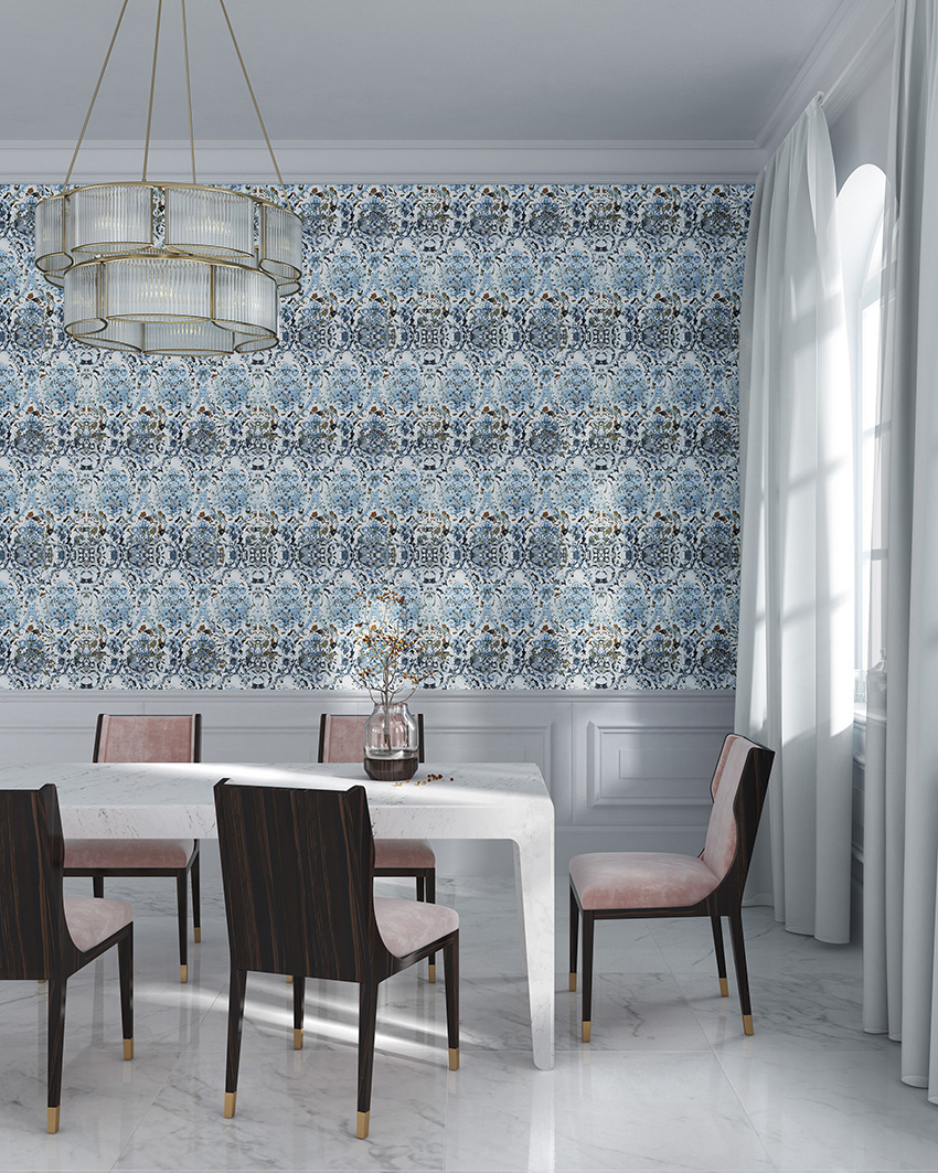 Beautiful blue and copper print wallpaper for an adorable dining room