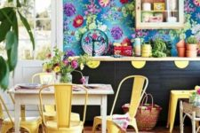 13 super colorful blue wallpaper with bold floral prints for a cheerful summer kitchen
