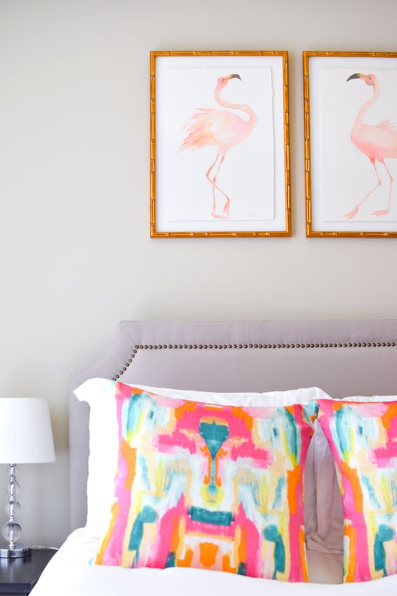 cute pink flamingo art piece will be great for a girl's space