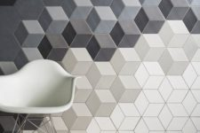 14 grey, black and white hexagon acoustic panels for a modern space