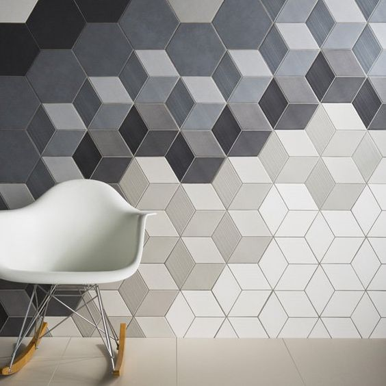 grey, black and white hexagon acoustic panels for a modern space