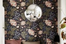 retro floral accent wall