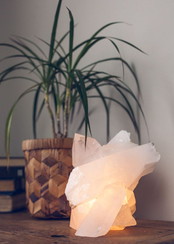 a blush crystal lantern with a soft glow is great for a boho interior