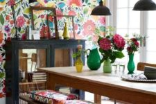 15 colorful floral wallpaper and matching cushions for a dining space