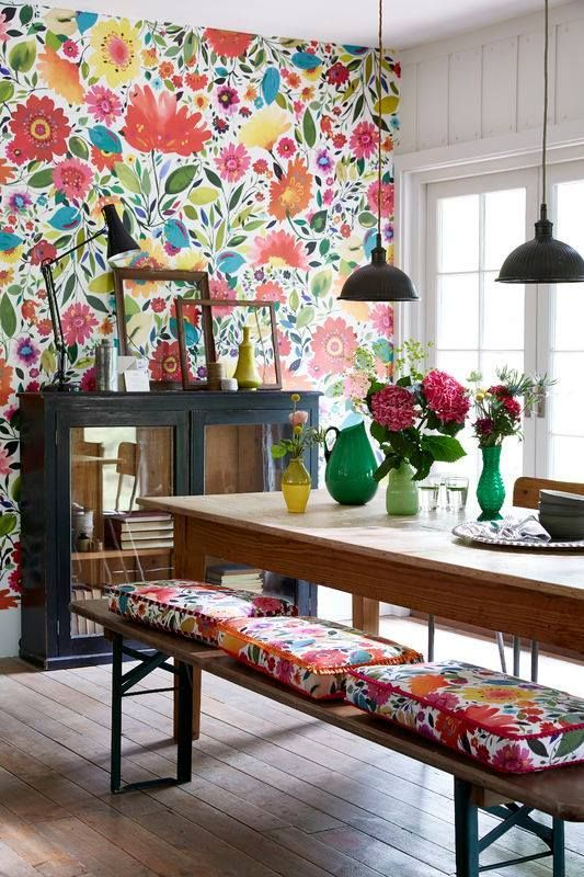 colorful floral wallpaper and matching cushions for a dining space