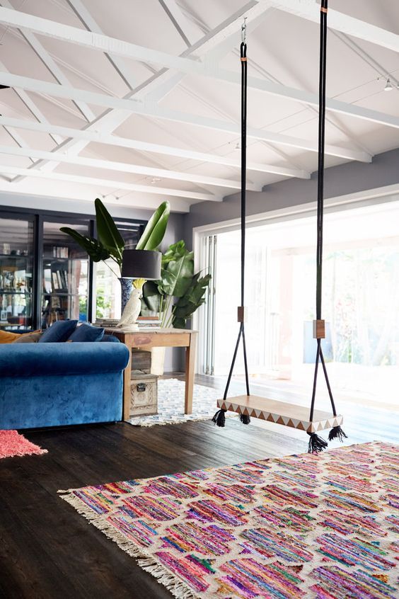 paint and accessorize your swing to fit the space decor and make it even more eye-catching like here