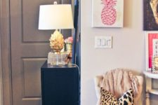 15 two pink pineapple artworks for a cheery girlish space