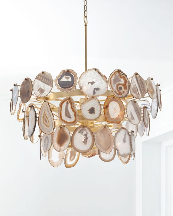 agate slice gilded chandelier is a unique piece to make a statement