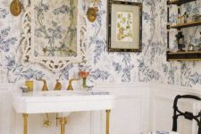 16 blue floral wallpaper for a vintage-inspired powder room to achieve a refined look