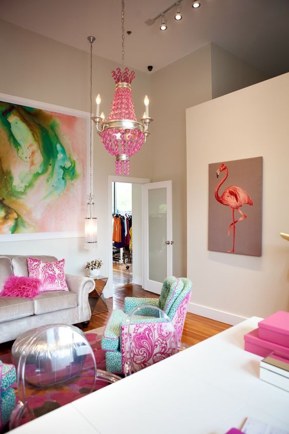 rock a bold pink coral flamingo wall art in a feminine room