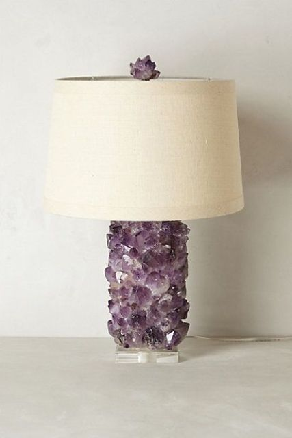 amethyst crystal lamp with a neutral lampshade looks cool in any modern interior