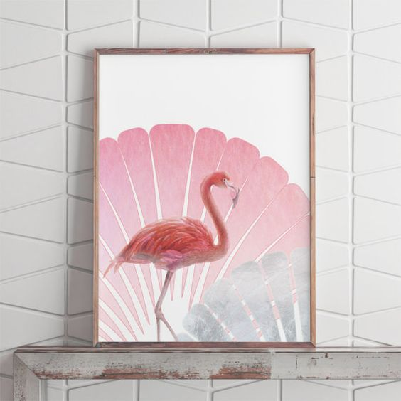 tropical flamingo art piece to decorate your mantel
