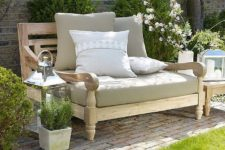 18 light-colored wood love seat with comfy upholstery for a cozy look