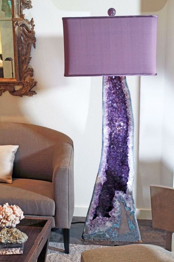 purple crystal base lamp with a purple lampshade makes a chic statement