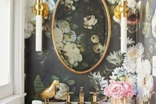 19 refined realistic floral wallpaper adds an exquisite feel to this powder room