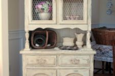 19 shabby chic buttermilk cupboard with chicken wire on the former glass compartments