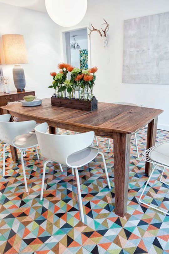 vinyl and linoleum tiles can be chic and eye catchy whole reducing the noise