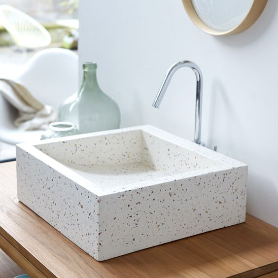 white terrazzo sink is a cute and stylish idea