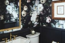 20 gorgeous powder room lined with black wainscoting and moody realistic floral wallpaper