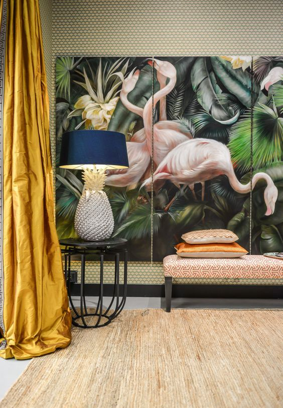 oversized pink flamingo art piece for a tropical inspired living room