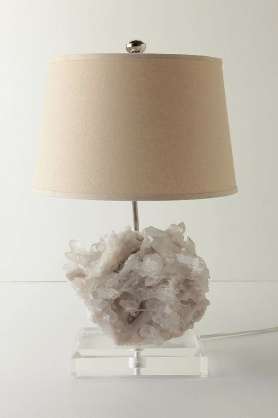 white geode base lamp with a neutral lampshades will fit any modern interior