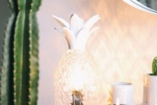 20 white plastic and glass pineapple light is a fun idea