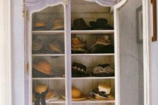 21 a vintage white cupboard with chicken wire doors for storing hats wil be a cute idea for a girlish space