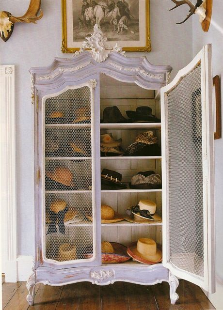 a vintage white cupboard with chicken wire doors for storing hats wil be a cute idea for a girlish space