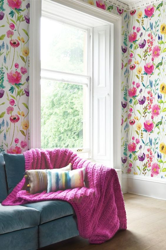 floral living room ideas 30 stylish ways to use floral wallpaper in your home 13158