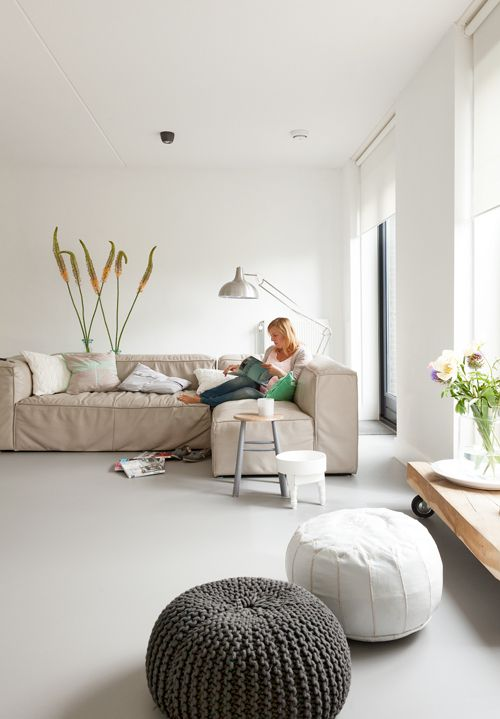 neutral linoleum floors will easily fit any interior