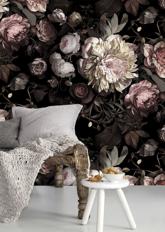 dark and shades of pink floral wallpaper to make a statement in a girl's space