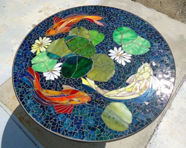 koi stained glass mosaic table for a zen-inspired outdoor space