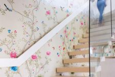 24 chinoiserie-inspired floral wallpaper and neutral stairs that stand out
