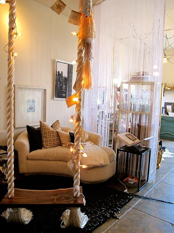 decorate your swing with banners and string lights to make it more inviting