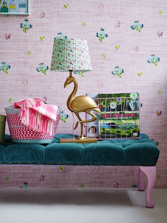 fun gilded flamingo lamp with a floral print lampshade looks very summery