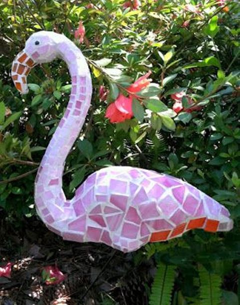 a pint mosaic flamingo will be a trendy take on a traditional decoration