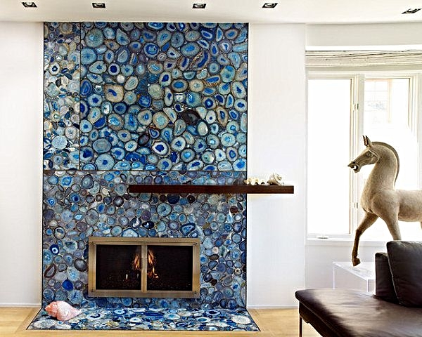 blue agate covered fireplace looks unique and stunning