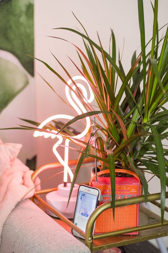 neon pink light will make your space playful and chic