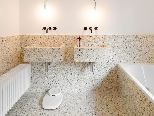 terrazzo bathroom and sinks is a great idea, it's durable, water-resistant and looks unusual
