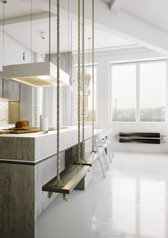 a swing as a kitchen seat is a very cute and original idea that adds interest to the space
